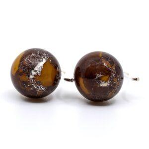 Unika gule glasperle ørehængere med bladsølv.